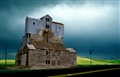 Palouse grain store before storm