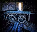 Funeral hand cart in the 13th Century Bell Tower, Pembridge, Herefordshire