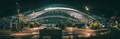 A pano of Liège-Guillemins railway station at night.