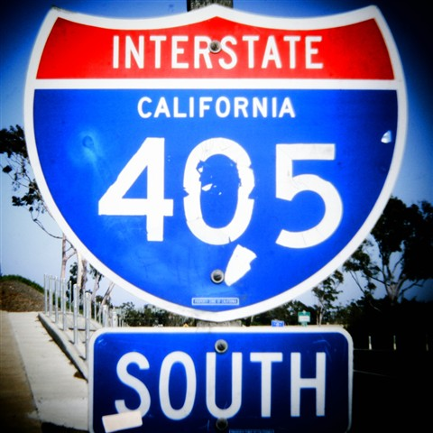 I-405 sign - Holga Wide lens
