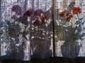 Flowers behind curtain