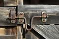 Farm door metal closer.
