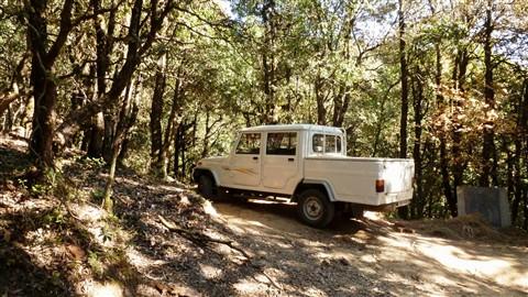 Abandoned vehicle inside Binsar forest, Uttrakhand