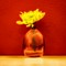 Yellow Flower. Vase. Red Wall challenge_C111985