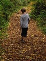 Boy and Path of Fallen Leaves