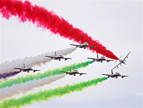 Smoke trails left by the United Arab Emirates aerobatic team
