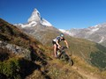 riding on the Mark Twain Trail in front of the Matterhorn, Zermatt, Switzerland