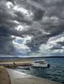 """Croatin coast with """"bora"""" storm"""