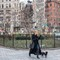 walking the dog in Madison Square Park