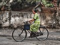 This little lady cycled to market