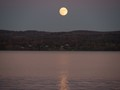 Supermoon rising over the Hudson river