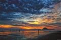Sunset at Air Manis Beach, Padang West Sumatra Indonesia