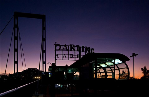 Darling Harbour Monorail Station at Dusk