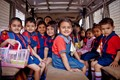 School Children in A Rickshaw