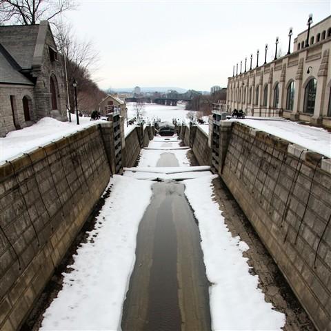 Granite block lock walls at Ottawa Locks.