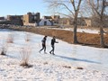 Walking home from school on a frozen river
