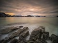 """Sunset from the rocks of Haukland beach - the """"Nicest Place in Norway"""""""
