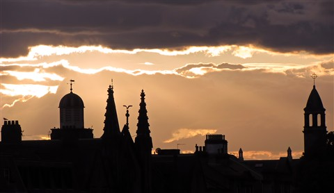 Sunset over rooftops at Inverness, Scotland