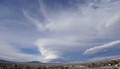 """A lenticular cloud or a """"standing wave"""" cloud forms over Heart Mountain, north of Cody, Wyoming, USA, on Mar. 19, 2017.  taken with a Sony Action Cam from my backyard."""