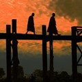 Monks crossing U Bein Bridge
