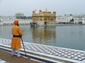 A guard at he Golden temple in Amritsar, India