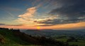 taken from Coaley Peak viewpoint on the Cotswold scarp looking over the Severn Vale . near Stroud Gloucestershire UK