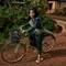 School girl and her bike
