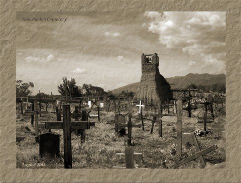 Taos Pueblo Church and Graveyard in Retro Shot