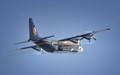 Blue Angels C-130 cargo plane leaving NAS Pensacola, Florida.