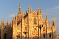 The dome of Milano in the evening sun in autumn