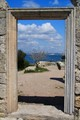 Look thru ancient door. Chersonesus. Crimea. Ukraine
