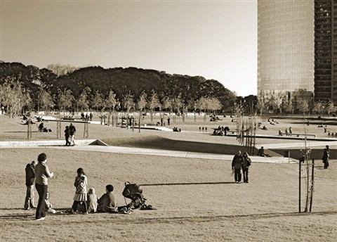 Sunday in the city-sepia
