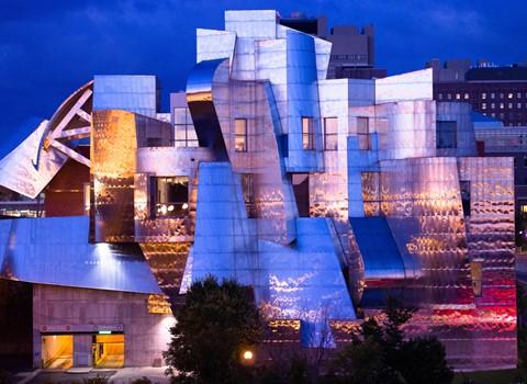 Sunset reflected from the Weisman Art Museum, Minneapolis, USA