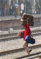 Baggage handling at an Indian railway station