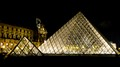 Set of triangles shapes - Louvre museum by night - Paris