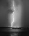 Backlit Rain and Lightning Strike