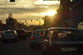 Sunset in Moscow, no shortage of traffic.
