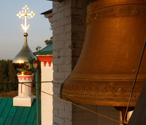 Big bell of temple of Live-giving Trinity. Averkievo village, Moscow district, Russia