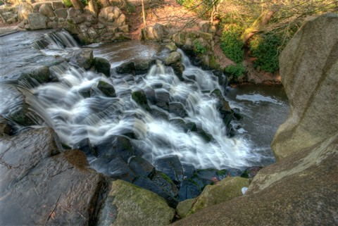 Man made waterfall at Virginia Water Lake, UK