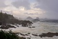 Hiking along the coast near Ucluelet, British Columbia, Canada at the end of a stormy day.