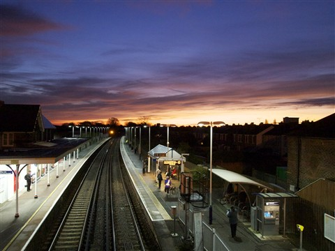 train station at sunrise