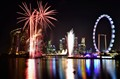 Singapore Skyline with Fireworks