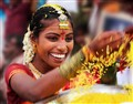 The rice throwing during an Indian wedding