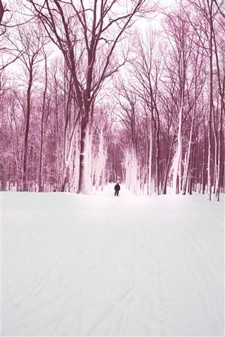 Jeffrey skiing pink monochrome-2383