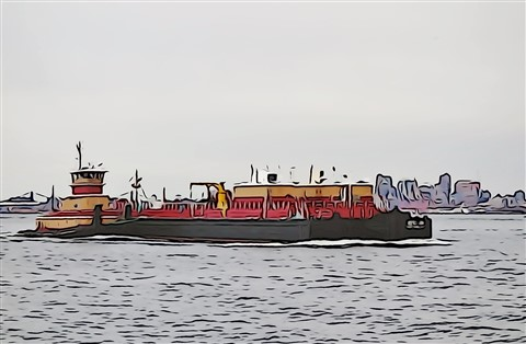Yellow Red Tug Barge - Illustrated