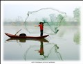 Busy fisherman in foggy morning, China