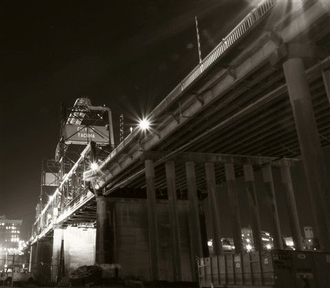 11th street bridge in sepia