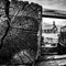 Bodie church through lumber stack.