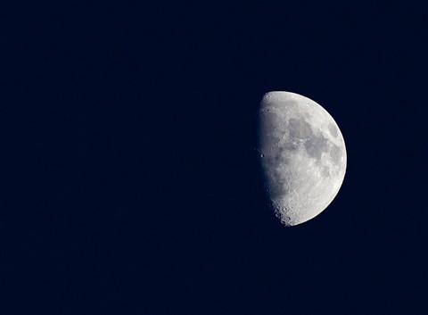 Moon over half