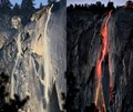 Yosemite's Horsetail Falls; Before and After the Day's Last Light